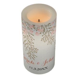 名前入りなアイボリーの赤面の金ゴールドの花柄の蝋燭 LEDキャンドル