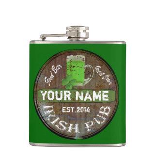 名前入りなアイルランドのパブの印 フラスク