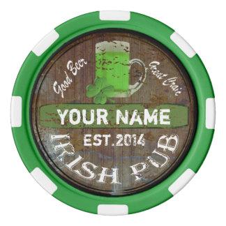 名前入りなアイルランドのパブの印 ポーカーチップ