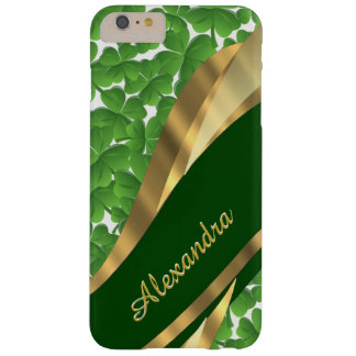 名前入りなアイルランドの緑のシャムロックパターン スリム iPhone 6 PLUS ケース