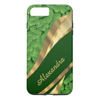 名前入りなアイルランドの緑のシャムロックパターン iPhone 7 PLUSケース