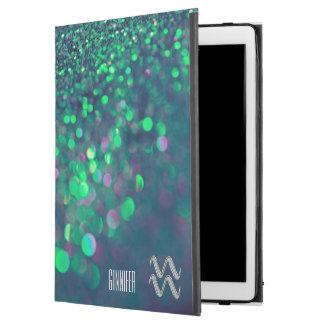 """名前入りなアクエリアスのグリッターの緑のiPadのプロ場合 iPad Pro 12.9"""" ケース"""