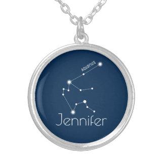 名前入りなアクエリアスの(占星術の)十二宮図の星座 シルバープレートネックレス