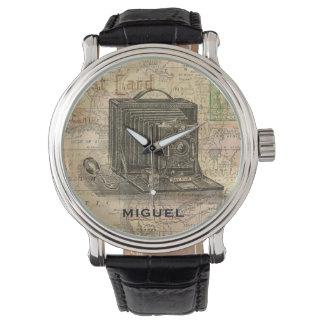 名前入りなアフリカのヴィンテージのカメラの旧式な地図 腕時計