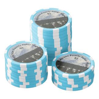 名前入りなアラスカの雪で覆われた山 ポーカーチップ