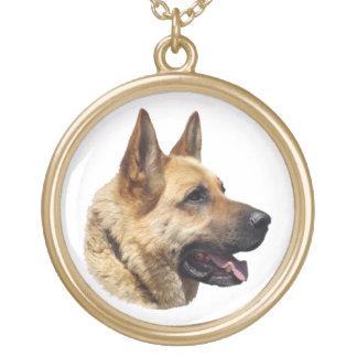 名前入りなアルザスのジャーマン・シェパード犬 ゴールドプレートネックレス