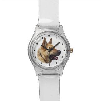 名前入りなアルザスのジャーマン・シェパード犬 腕時計