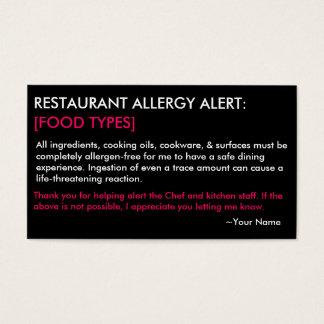 名前入りなアレルギーのレストラン及び氷カード- HP 名刺