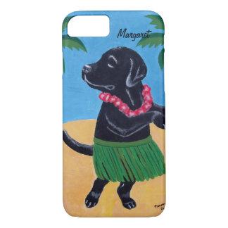 名前入りなアロハ黒いラブラドールiPhone7の箱 iPhone 7ケース
