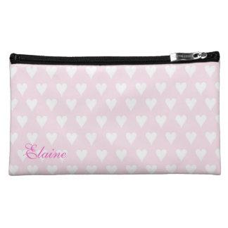 名前入りなイニシャルEの女の子の名前のピンクのハート コスメティックバッグ
