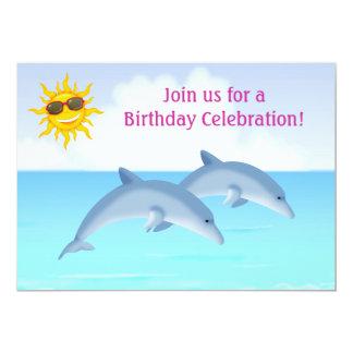 名前入りなイルカの女の子の誕生日の招待状 カード