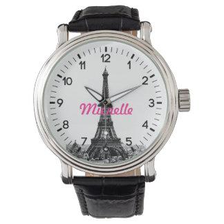 名前入りなエッフェル塔パリ 腕時計
