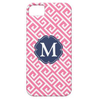 名前入りなエレガントなピンクのギリシャ人の鍵 iPhone SE/5/5s ケース
