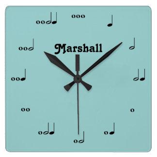 名前入りなオリジナルの音楽作品のノートの時計 スクエア壁時計