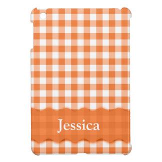 名前入りなオレンジおよび白の点検 iPad MINIケース