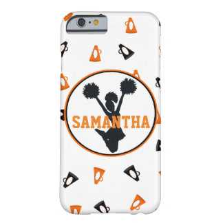 名前入りなオレンジおよび黒いメガホンの応援 BARELY THERE iPhone 6 ケース