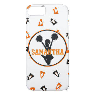 名前入りなオレンジおよび黒いメガホンの応援 iPhone 7ケース
