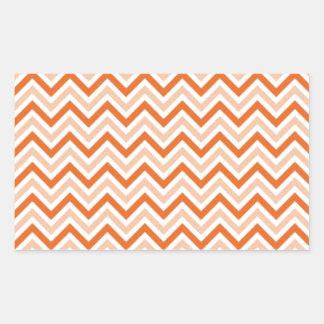 名前入りなオレンジシェブロン 長方形シール