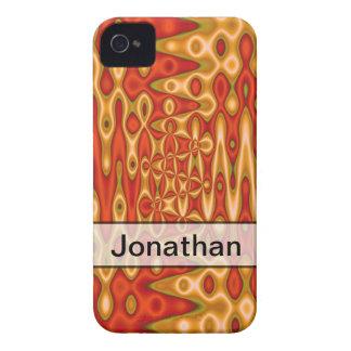 名前入りなオレンジ黄色の抽象美術 Case-Mate iPhone 4 ケース