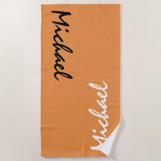 名前入りなオレンジ ビーチタオル