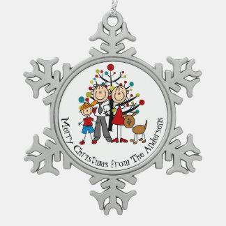 名前入りなカップル、男の子、犬の雪片のオーナメント スノーフレークピューターオーナメント