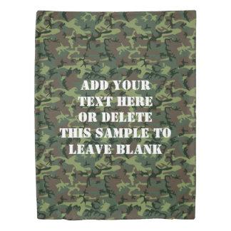 名前入りなカムフラージュの迷彩柄の緑のブラウンパターン 掛け布団カバー