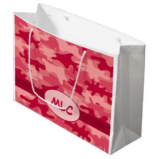 名前入りなカラフルで赤いカムフラージュのモノグラム ラージペーパーバッグ