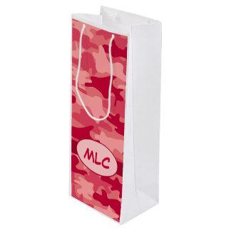 名前入りなカラフルで赤いカムフラージュのモノグラム ワインギフトバッグ