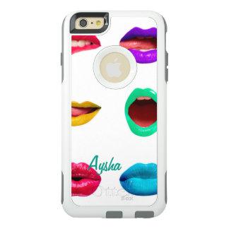 名前入りなカラフルな唇 オッターボックスiPhone 6/6S PLUSケース