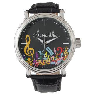 名前入りなカラフル黒の乱雑な音楽ノート 腕時計