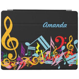 名前入りなカラフル黒の乱雑な音楽ノート iPadスマートカバー