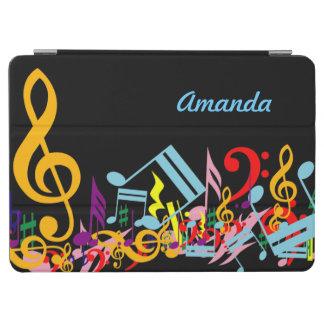 名前入りなカラフル黒の乱雑な音楽ノート iPad AIR カバー
