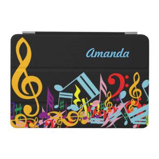 名前入りなカラフル黒の乱雑な音楽ノート iPad MINIカバー