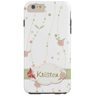 名前入りなガーリーなパステル調の落書きの花柄 TOUGH iPhone 6 PLUS ケース