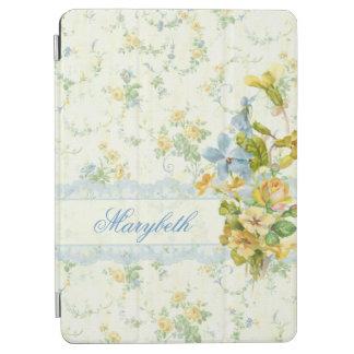 名前入りなガーリーな花およびレース iPad AIR カバー