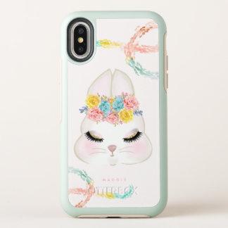 名前入りなガーリーな花のバニーの顔のピンクの金ゴールド オッターボックスシンメトリー iPhone X ケース