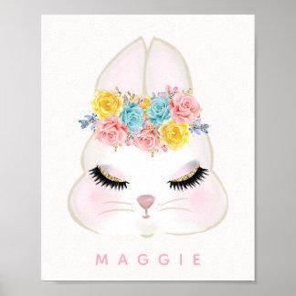 名前入りなガーリーな花のバニーの顔のピンク ポスター