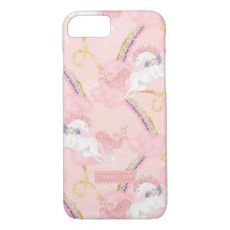 名前入りなガーリーな花のユニコーンのピンクの金ゴールド iPhone 8/7ケース