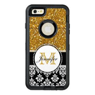 名前入りなガーリーな金ゴールドのグリッターの黒のダマスク織 オッターボックスディフェンダーiPhoneケース