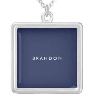 名前入りなギフトの男性への青い銀製のネックレス シルバープレートネックレス