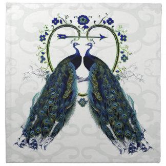 名前入りなクジャクの孔雀愛ハート ナプキンクロス