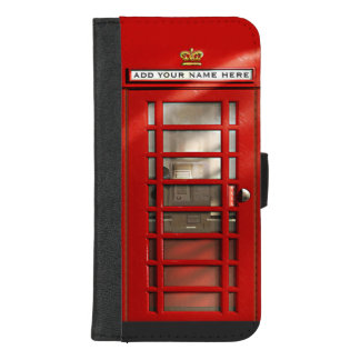 名前入りなクラシックなイギリスの赤い電話ボックス iPhone 8/7 PLUS ウォレットケース