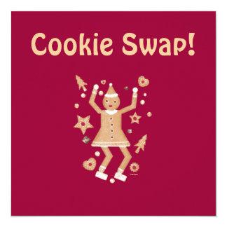 名前入りなクリスマスのクッキーの交換の招待状 カード