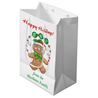 名前入りなクリスマスのジンジャーブレッドの喜び ミディアムペーパーバッグ