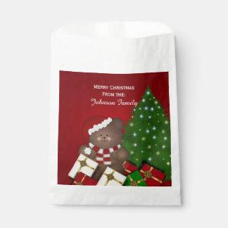 名前入りなクリスマスのテディー・ベアの好意のバッグ フェイバーバッグ
