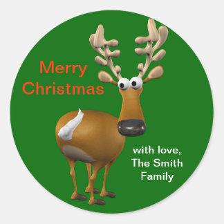 名前入りなクリスマスのトナカイのギフトのラベルかラベル ラウンドシール