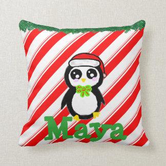 名前入りなクリスマスのペンギン クッション
