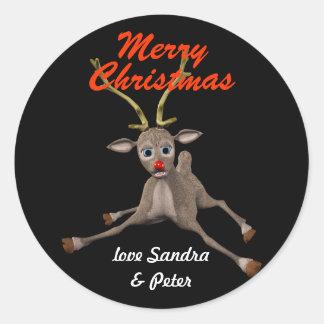 名前入りなクリスマスのルドルフの黒いギフトのラベル ラウンドシール