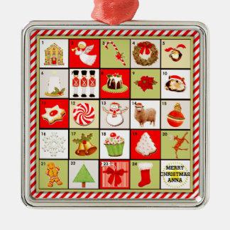 名前入りなクリスマスの出現のカレンダーのギフト メタルオーナメント