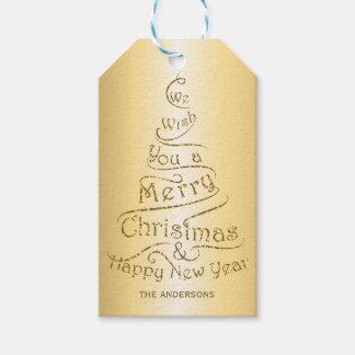 名前入りなクリスマスの挨拶のデザイン ギフトタグ